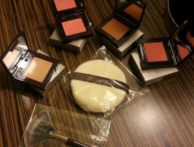 Laura Mercier Sponge, Lip Tint, Cream Bronzer and Cream Blush-On